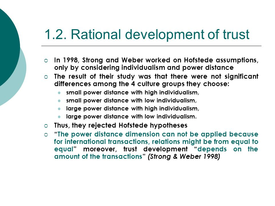 1.2. Rational development of trust