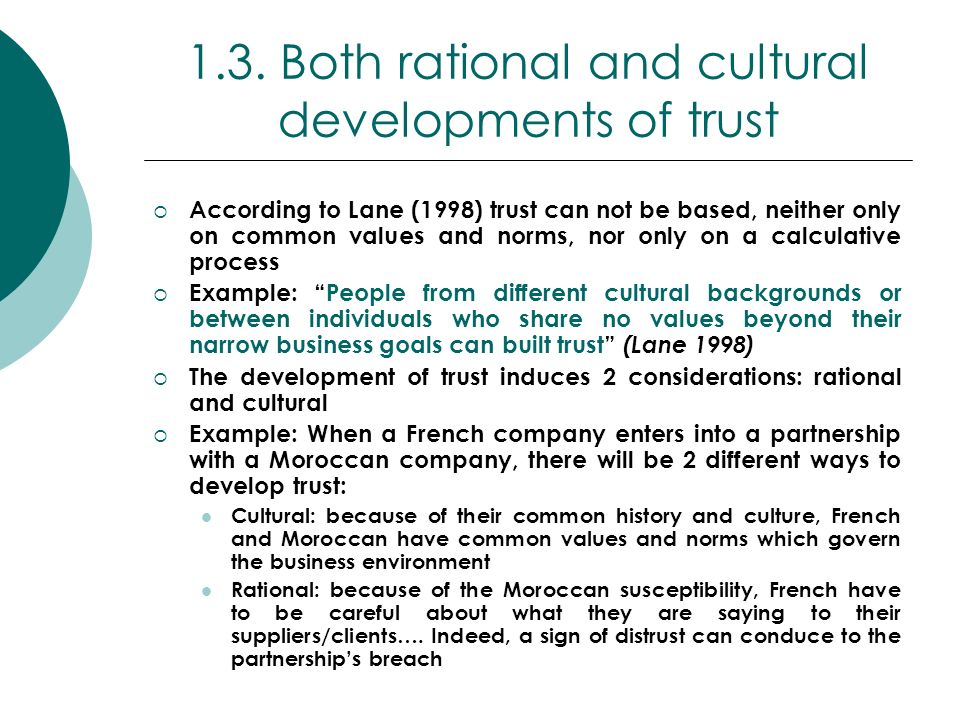 1.3. Both rational and cultural developments of trust