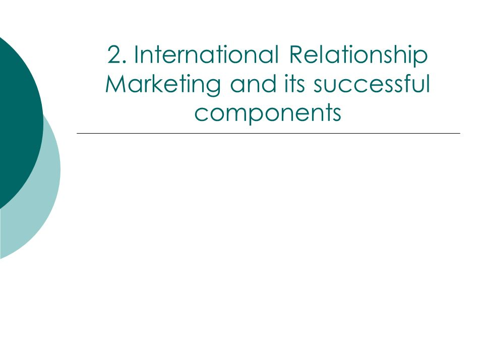 2. International Relationship Marketing and its successful components