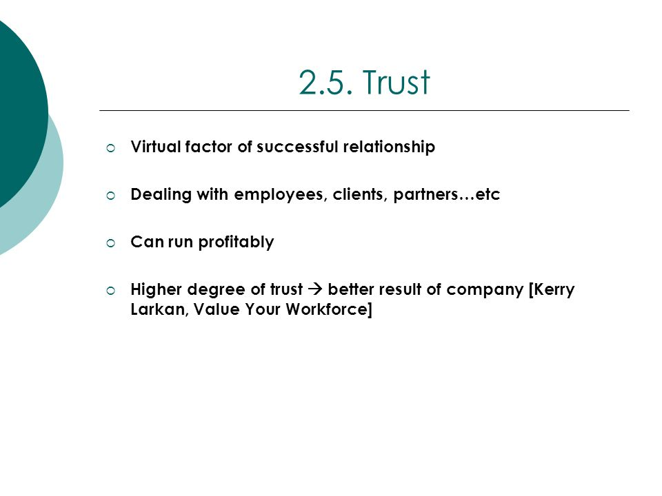 2.5. Trust Virtual factor of successful relationship