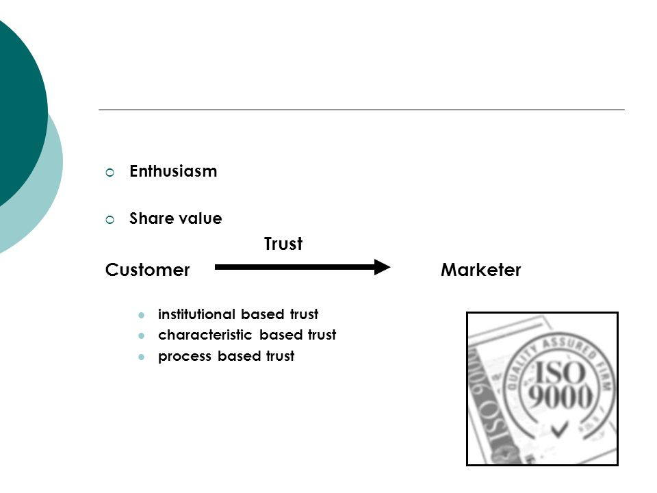 Customer Marketer Enthusiasm Share value Trust
