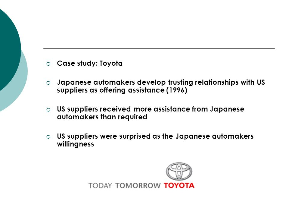 Case study: Toyota Japanese automakers develop trusting relationships with US suppliers as offering assistance (1996)
