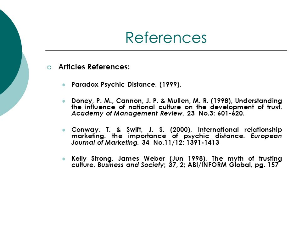 References Articles References: Paradox Psychic Distance, (1999),