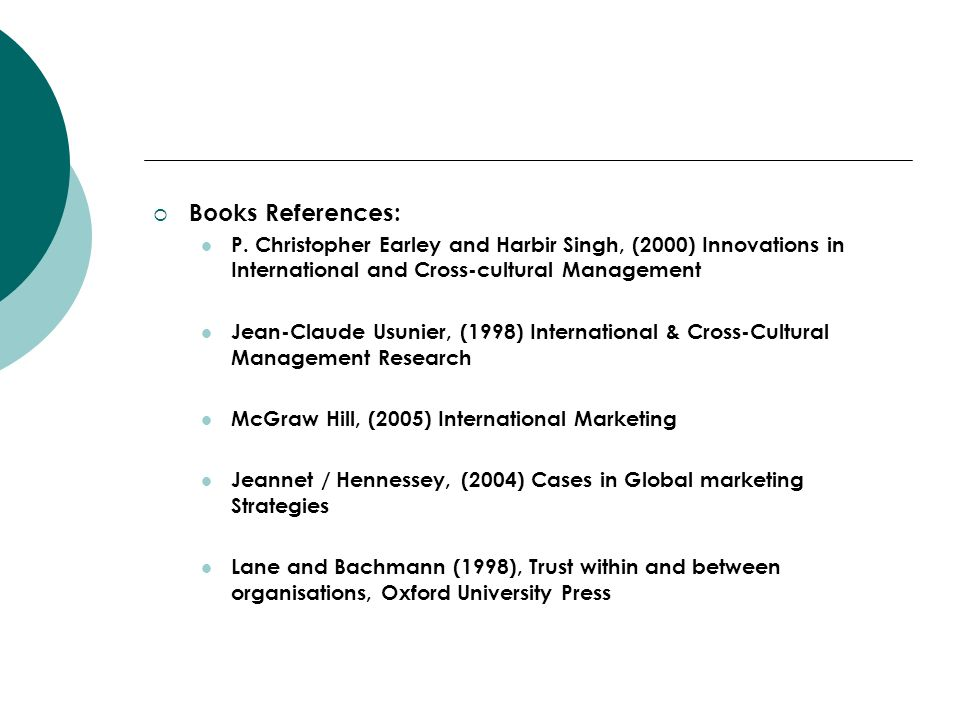 Books References: P. Christopher Earley and Harbir Singh, (2000) Innovations in International and Cross-cultural Management.