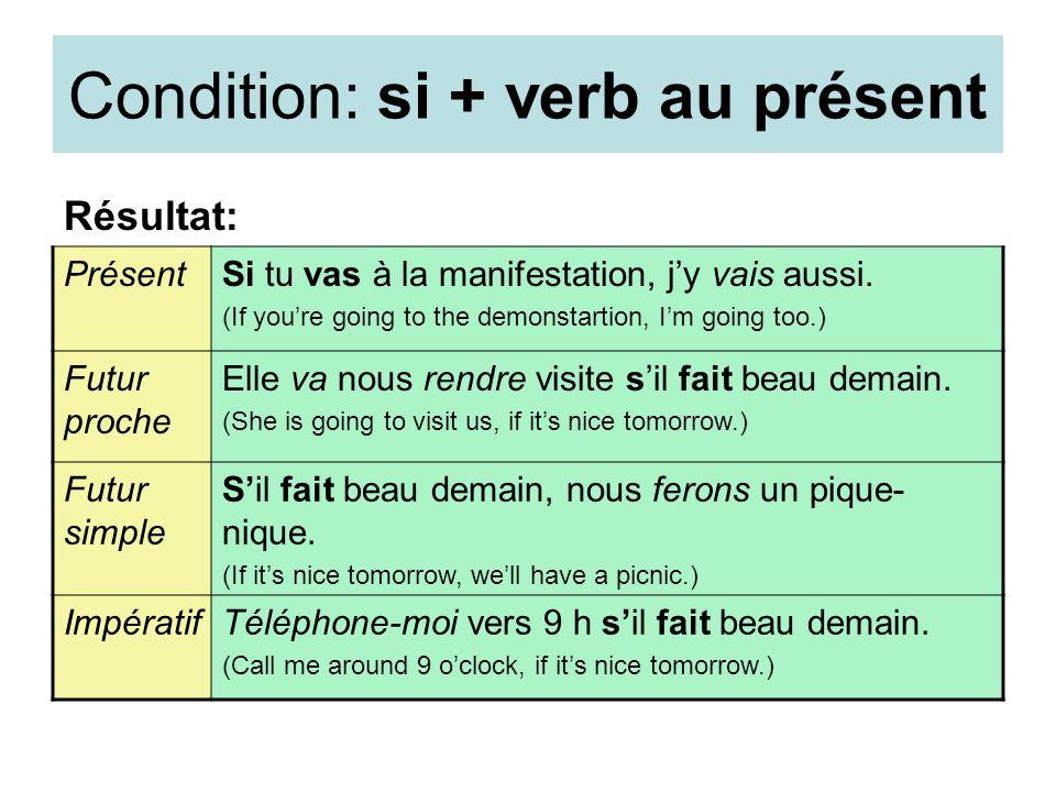 Condition: si + verb au présent