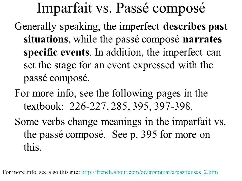 Imparfait vs. Passé composé