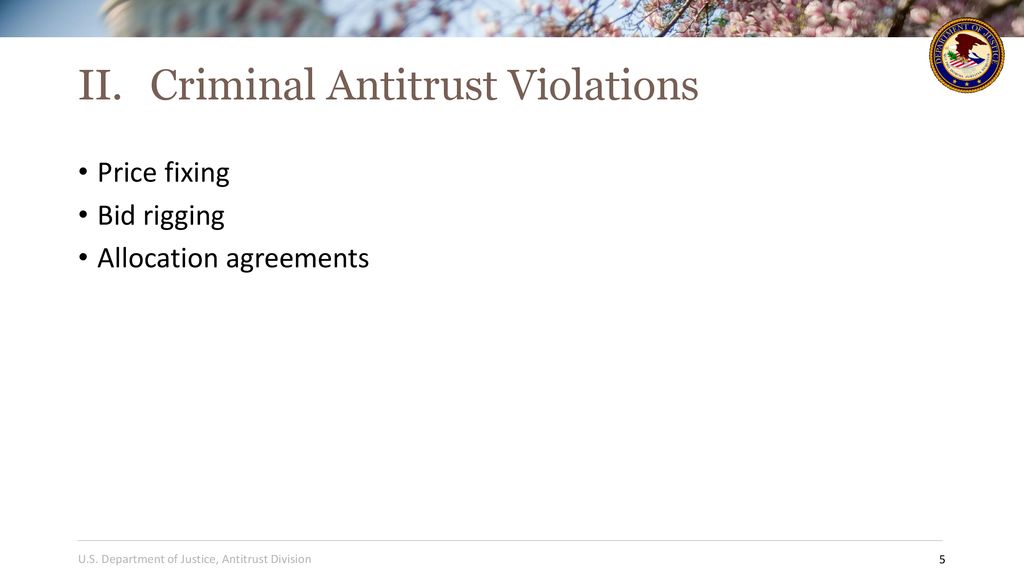 U S Department Of Justice Antitrust Division Ppt Download
