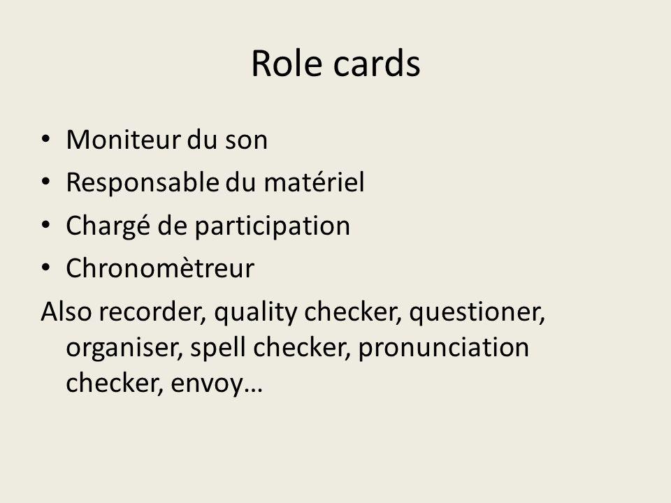 Role cards Moniteur du son Responsable du matériel