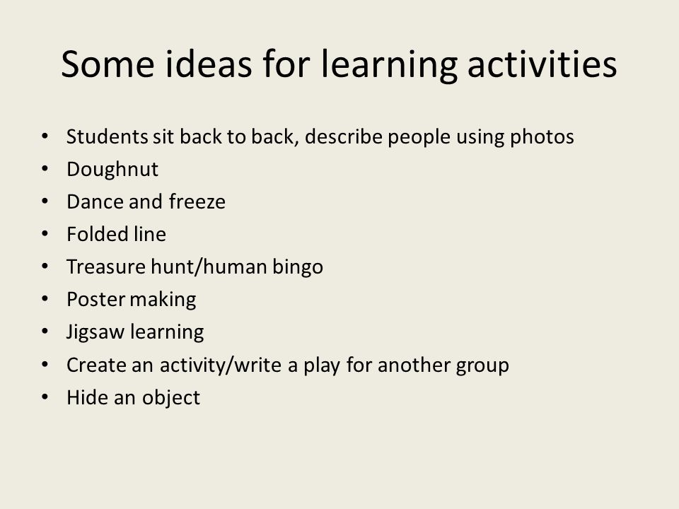 Some ideas for learning activities