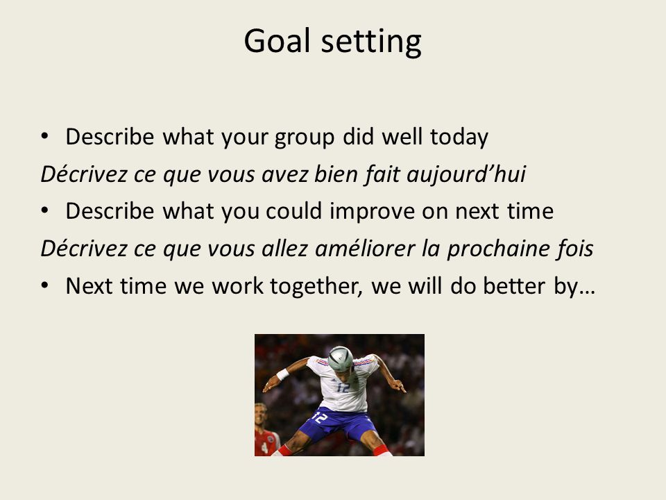 Goal setting Describe what your group did well today