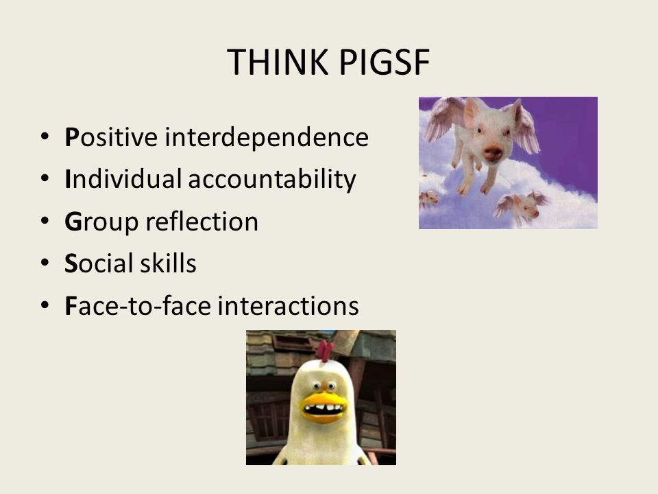 THINK PIGSF Positive interdependence Individual accountability