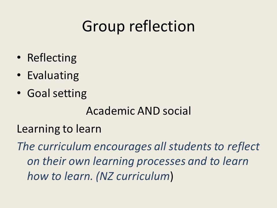 Group reflection Reflecting Evaluating Goal setting