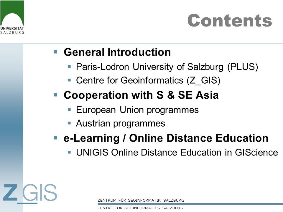 Contents General Introduction Cooperation with S & SE Asia