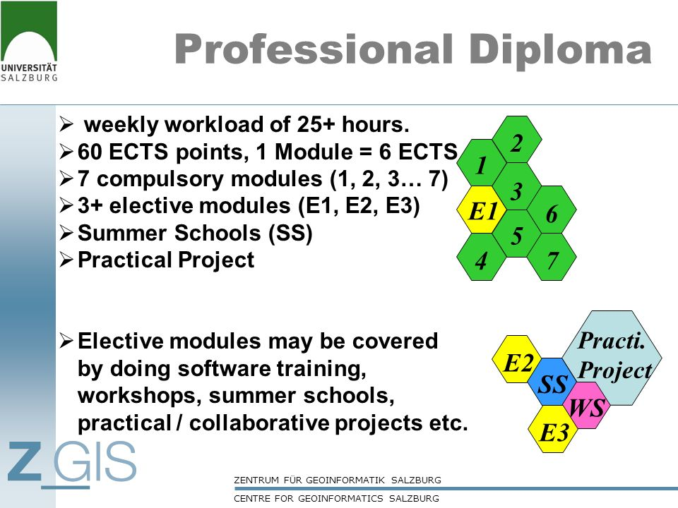 Professional Diploma 1 3 5 6 2 4 7 E1 WS E3 E2 SS Practi. Project