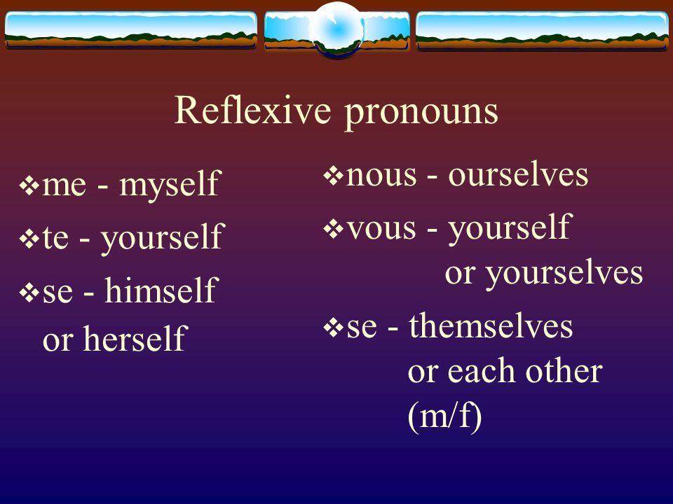 Reflexive pronouns nous - ourselves me - myself