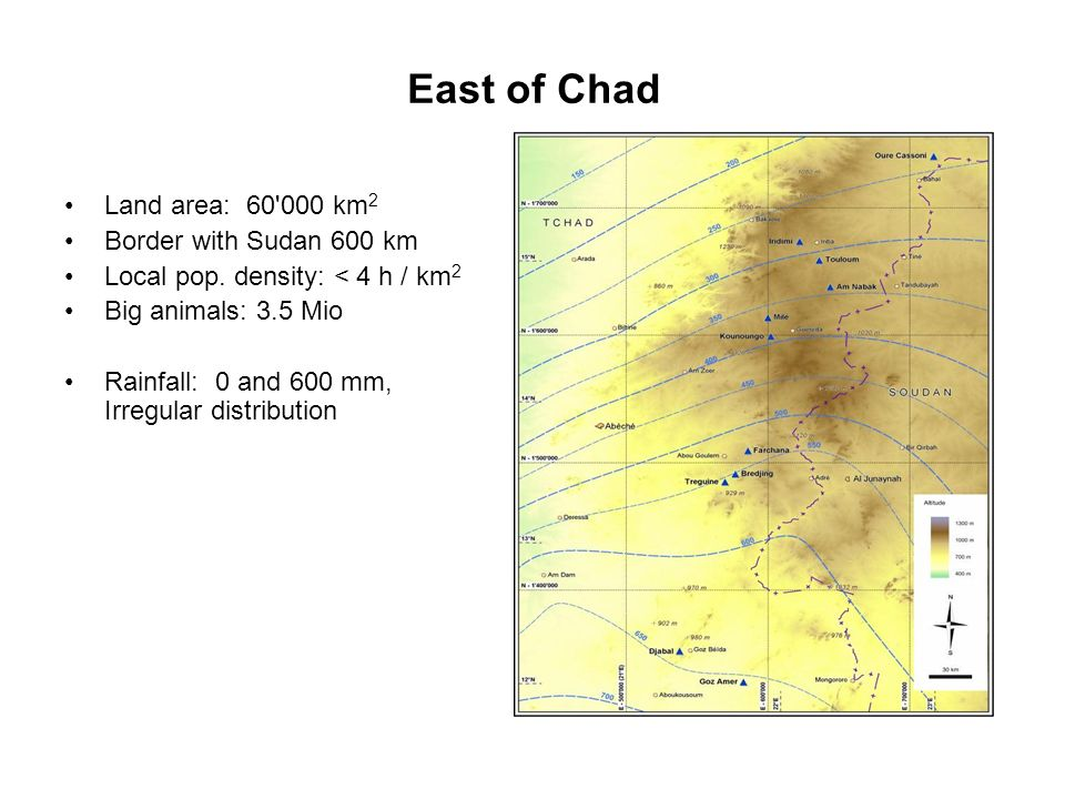 East of Chad Land area: 60 000 km2 Border with Sudan 600 km