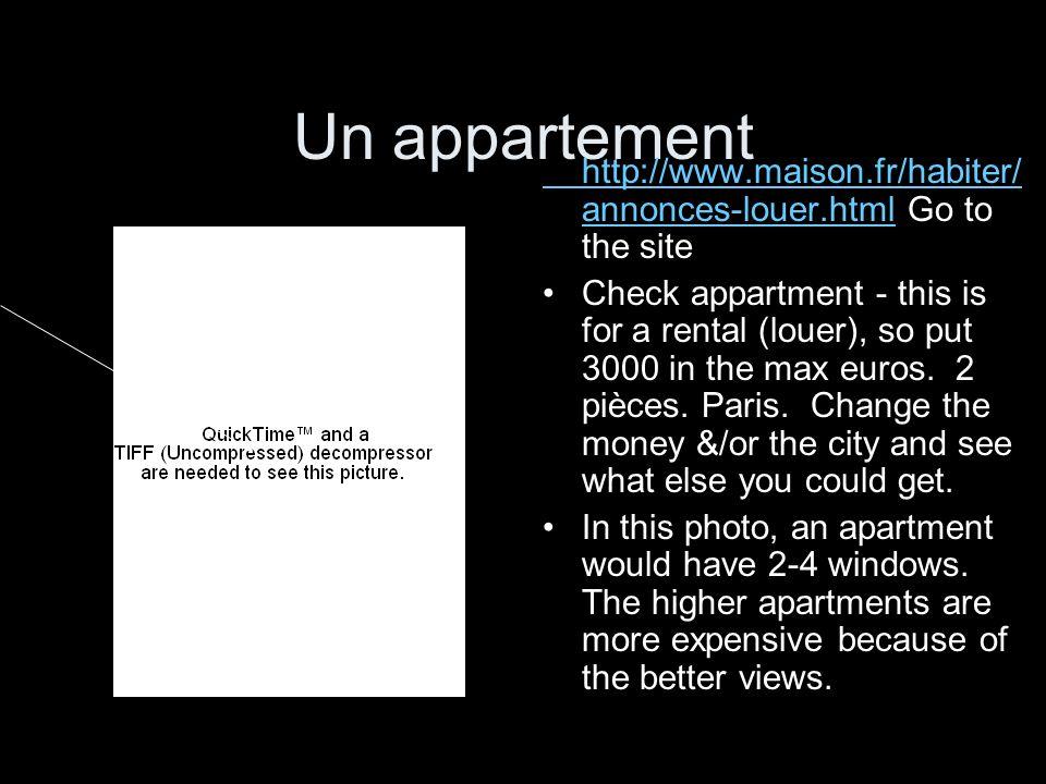 Un appartementhttp://www.maison.fr/habiter/annonces-louer.html Go to the site.