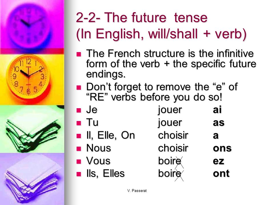 2-2- The future tense (In English, will/shall + verb)