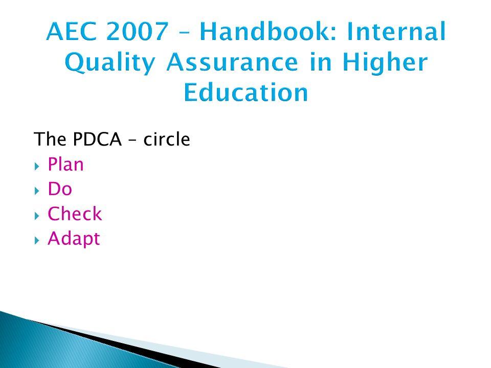 AEC 2007 – Handbook: Internal Quality Assurance in Higher Education