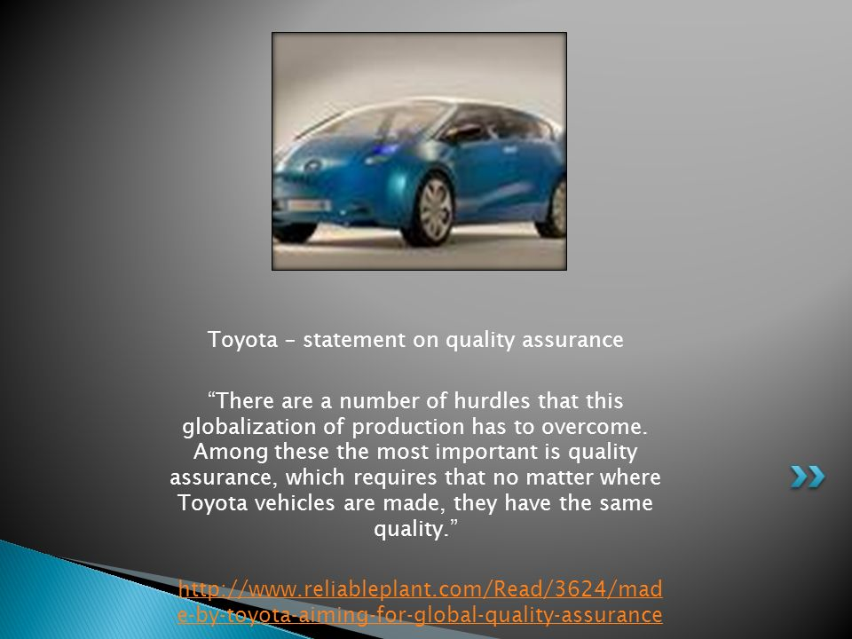 Toyota – statement on quality assurance