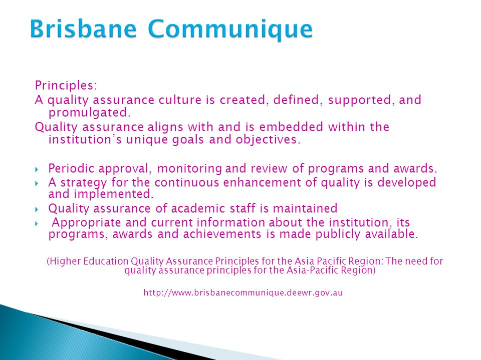 Brisbane Communique Principles: