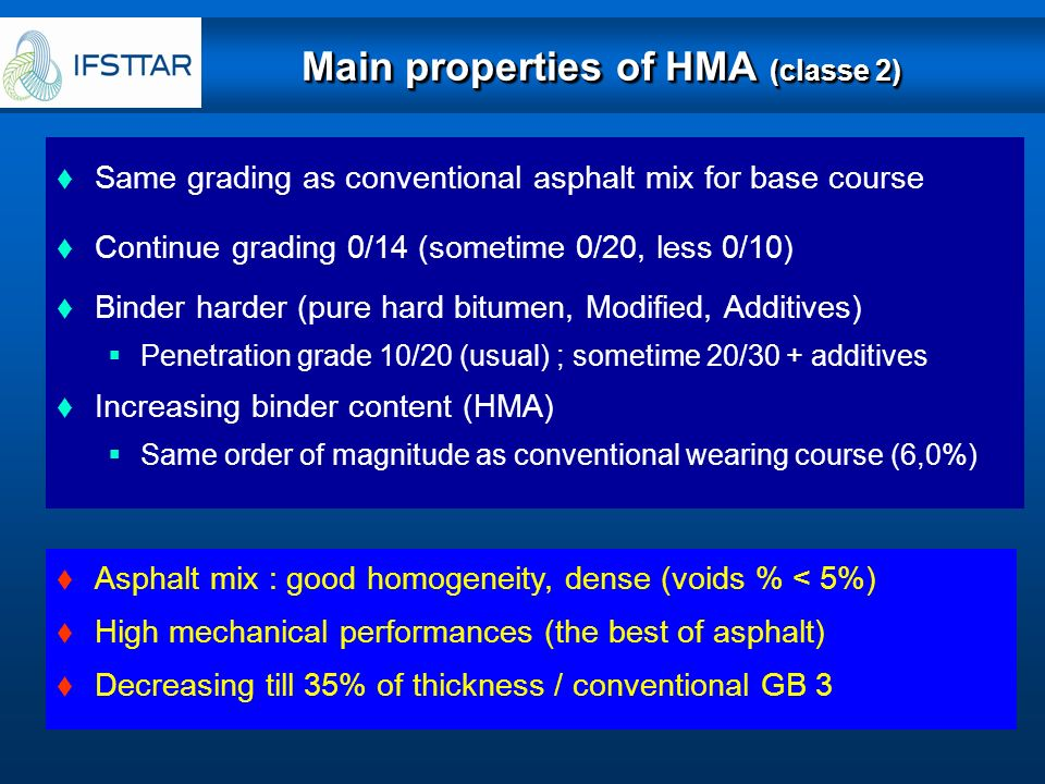 Main properties of HMA (classe 2)
