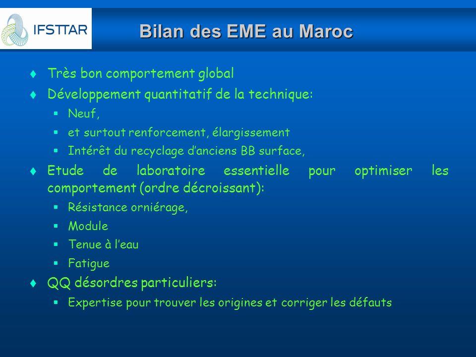Bilan des EME au Maroc Très bon comportement global
