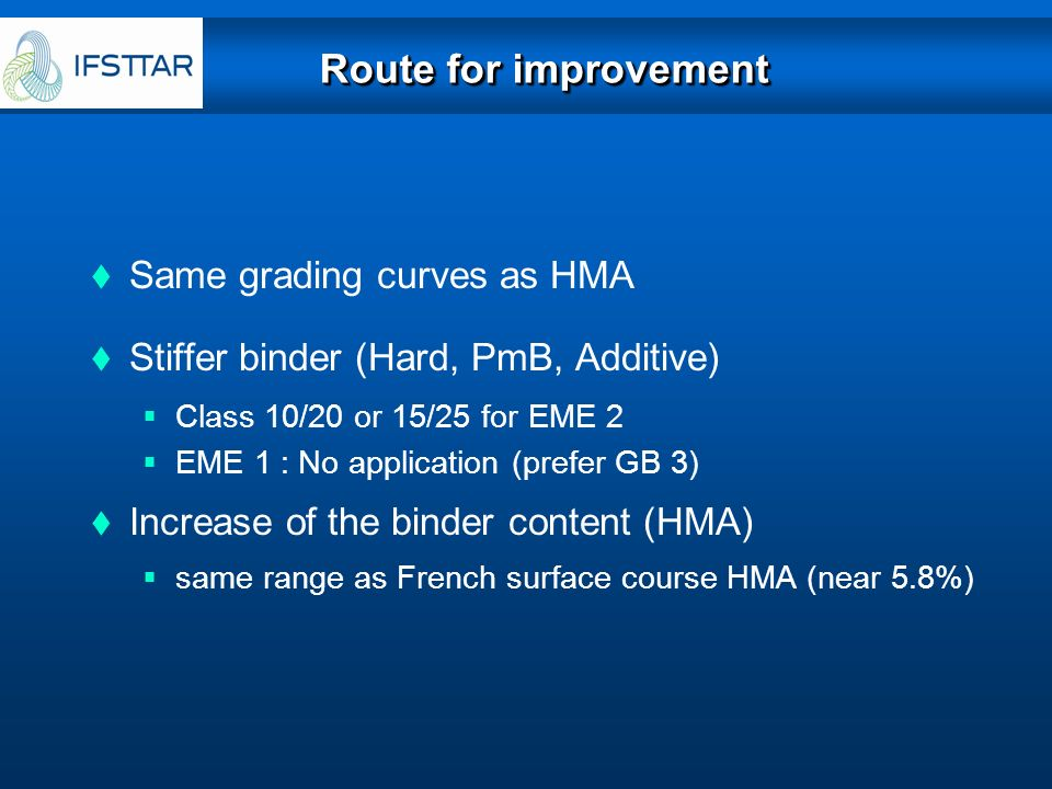 Route for improvement Same grading curves as HMA