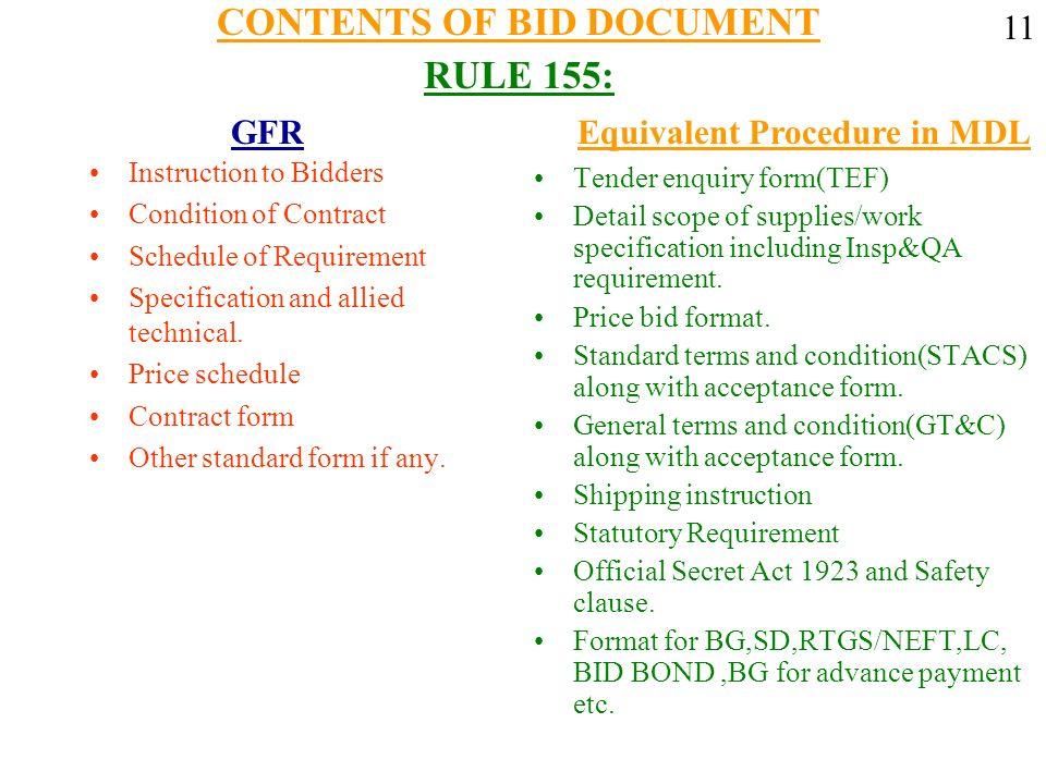 CONTENTS OF BID DOCUMENT RULE 155: