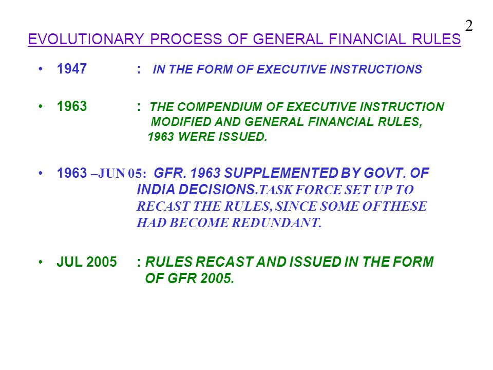 EVOLUTIONARY PROCESS OF GENERAL FINANCIAL RULES