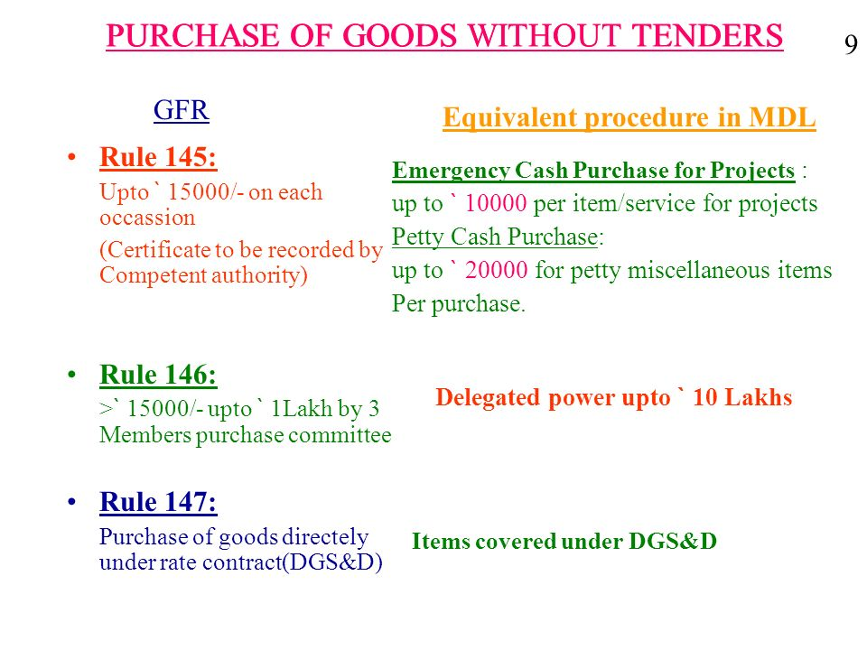 PURCHASE OF GOODS WITHOUT TENDERS