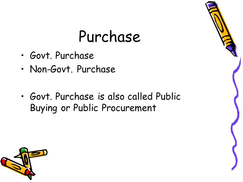 Purchase Govt. Purchase Non-Govt. Purchase