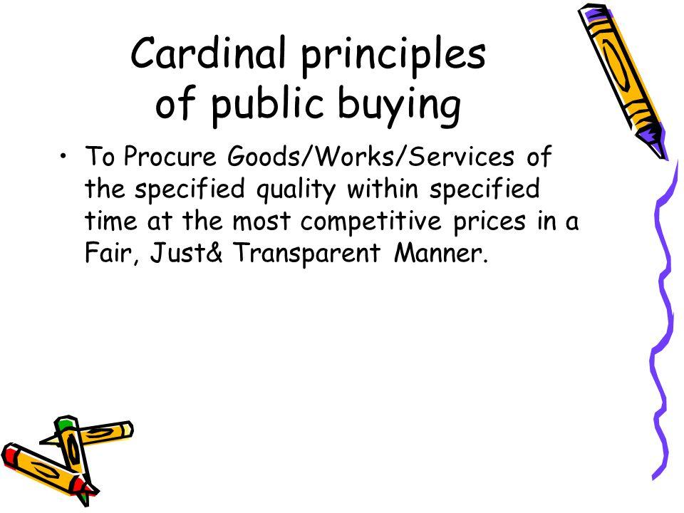Cardinal principles of public buying
