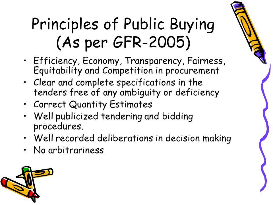 Principles of Public Buying (As per GFR-2005)