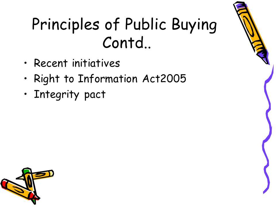 Principles of Public Buying Contd..