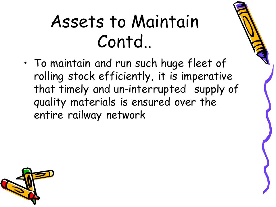 Assets to Maintain Contd..