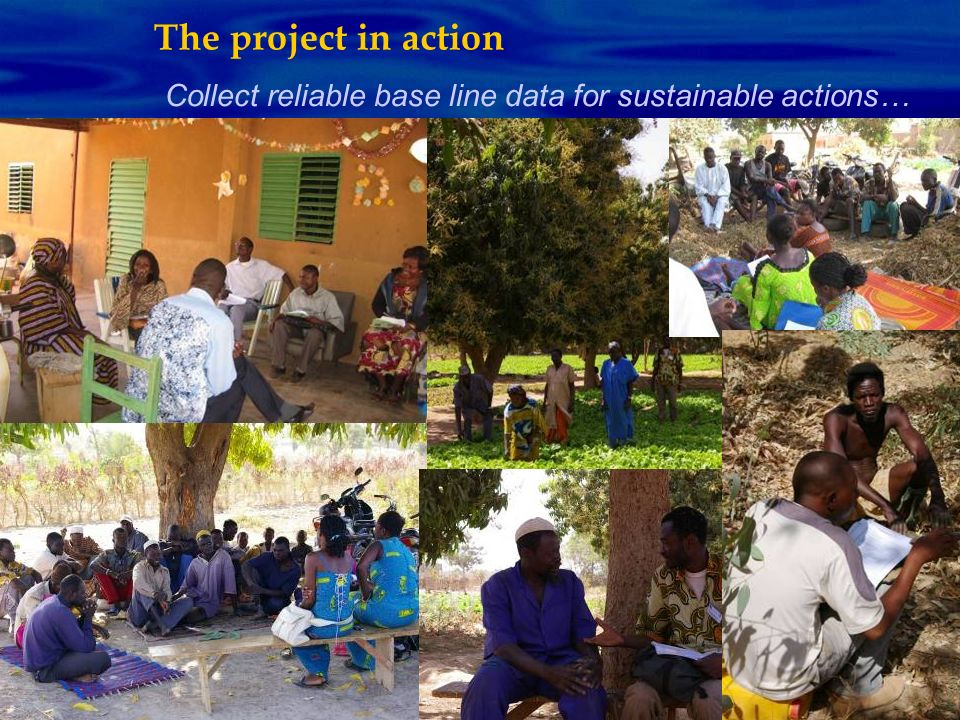 The project in action Collect reliable base line data for sustainable actions…