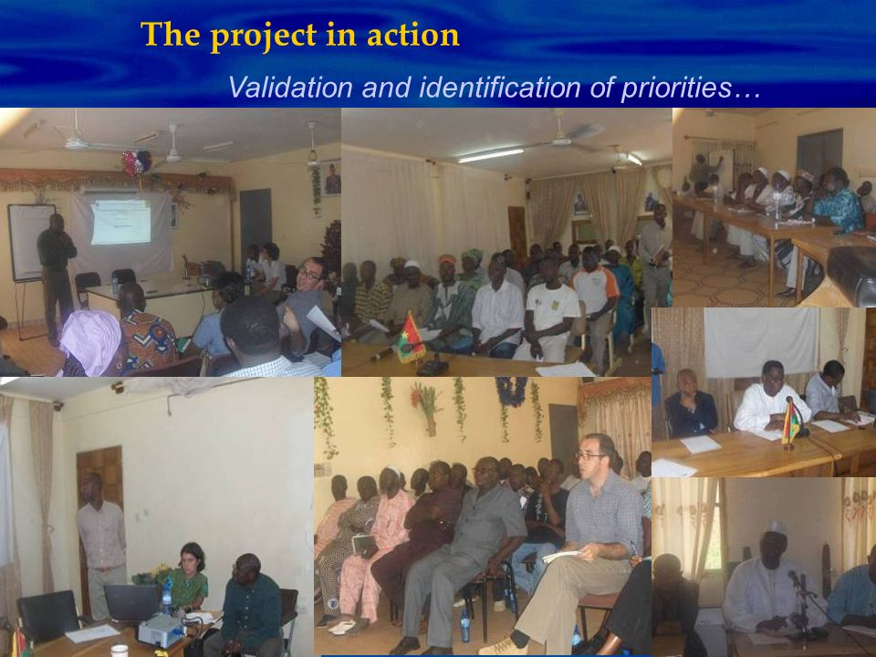 The project in action Validation and identification of priorities…