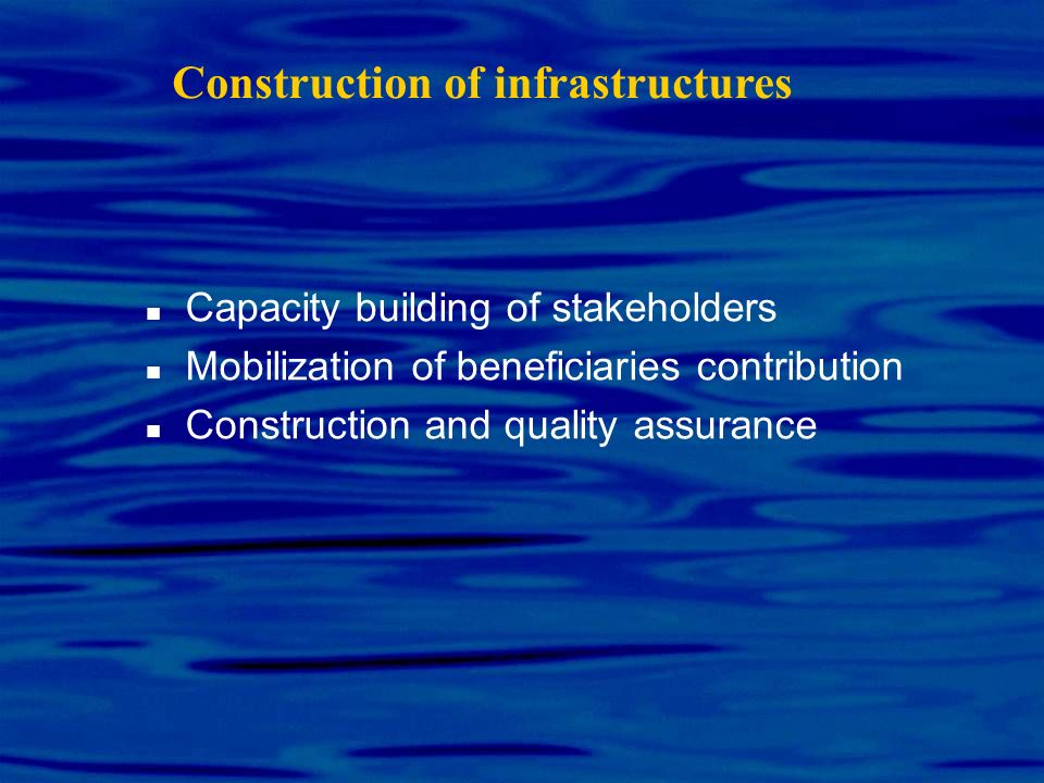 Construction of infrastructures