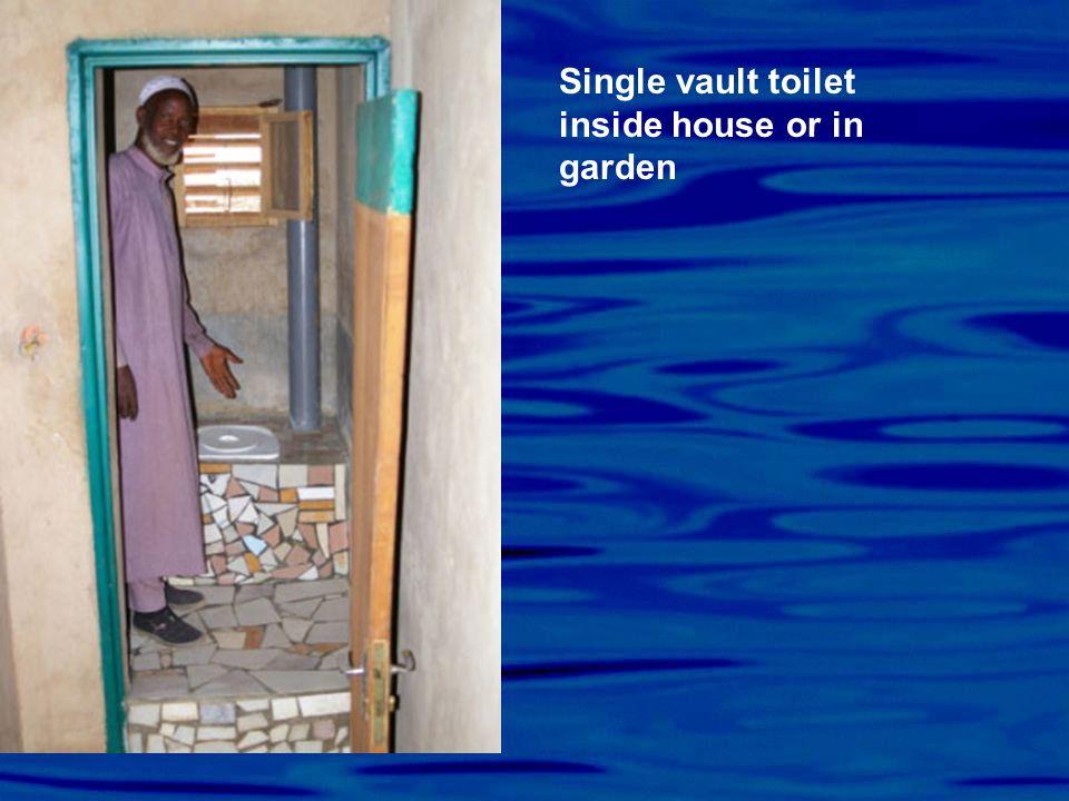 Single vault toilet inside house or in garden