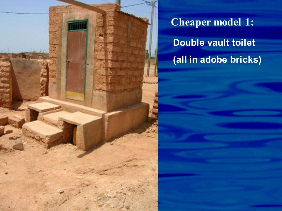 Cheaper model 1: Double vault toilet (all in adobe bricks)