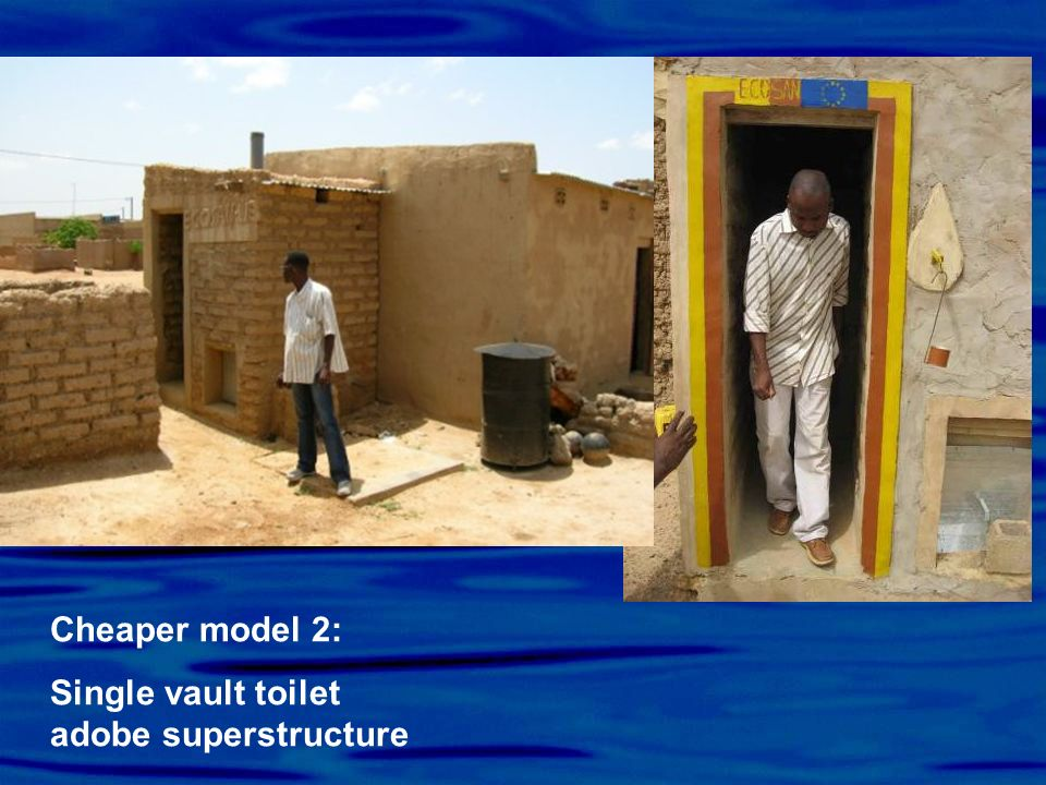 Cheaper model 2: Single vault toilet adobe superstructure