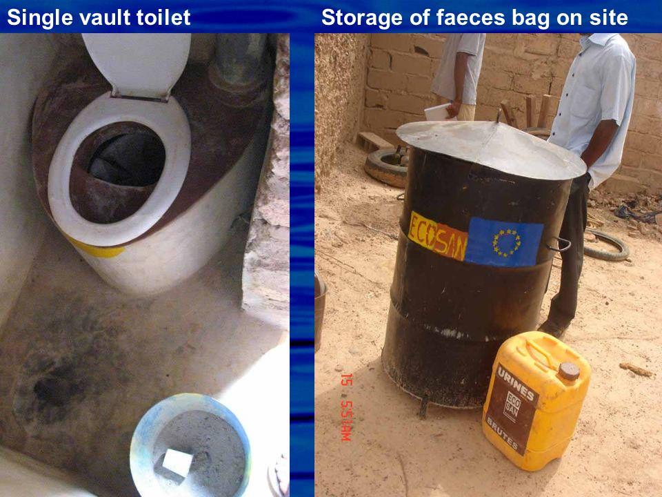 Single vault toilet Storage of faeces bag on site