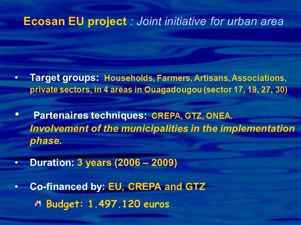Ecosan EU project : Joint initiative for urban area