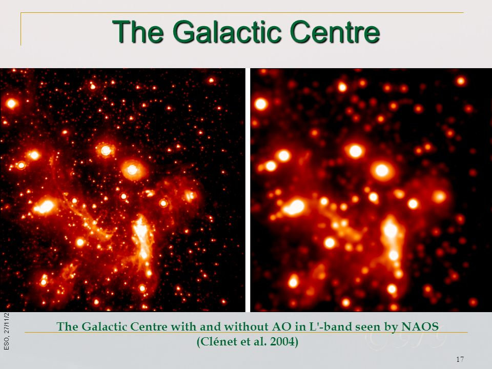 The Galactic Centre with and without AO in L -band seen by NAOS