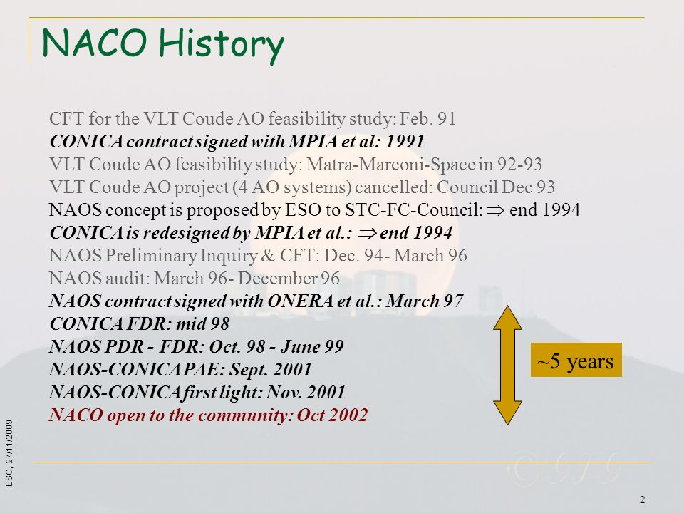 NACO HistoryCFT for the VLT Coude AO feasibility study: Feb. 91. CONICA contract signed with MPIA et al: 1991.