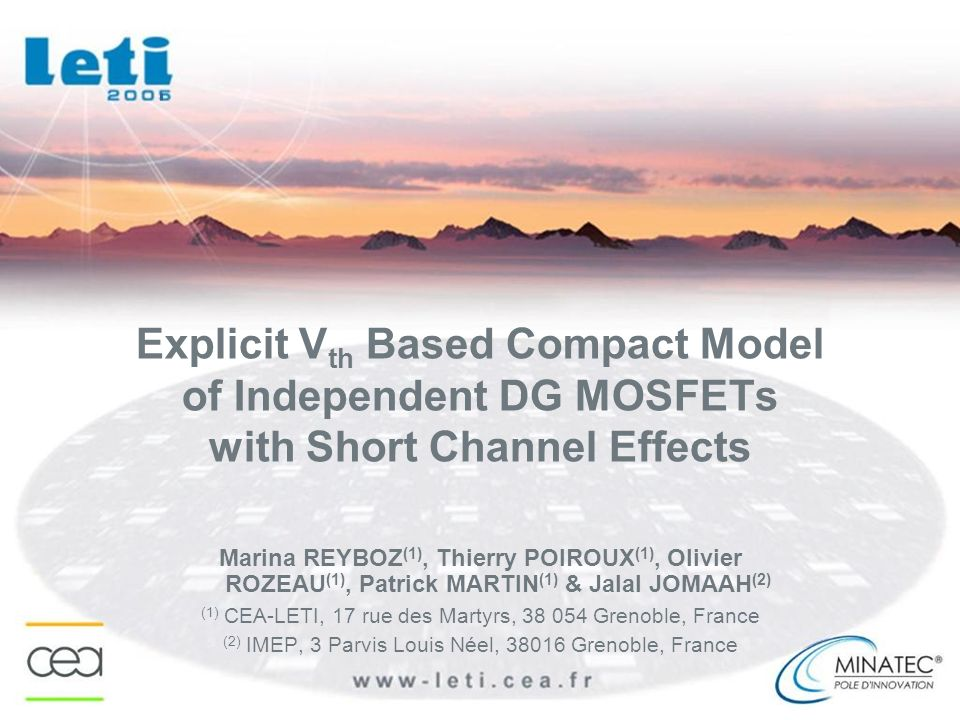 Explicit Vth Based Compact Model of Independent DG MOSFETs with Short Channel Effects