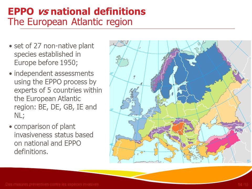 EPPO vs national definitions The European Atlantic region