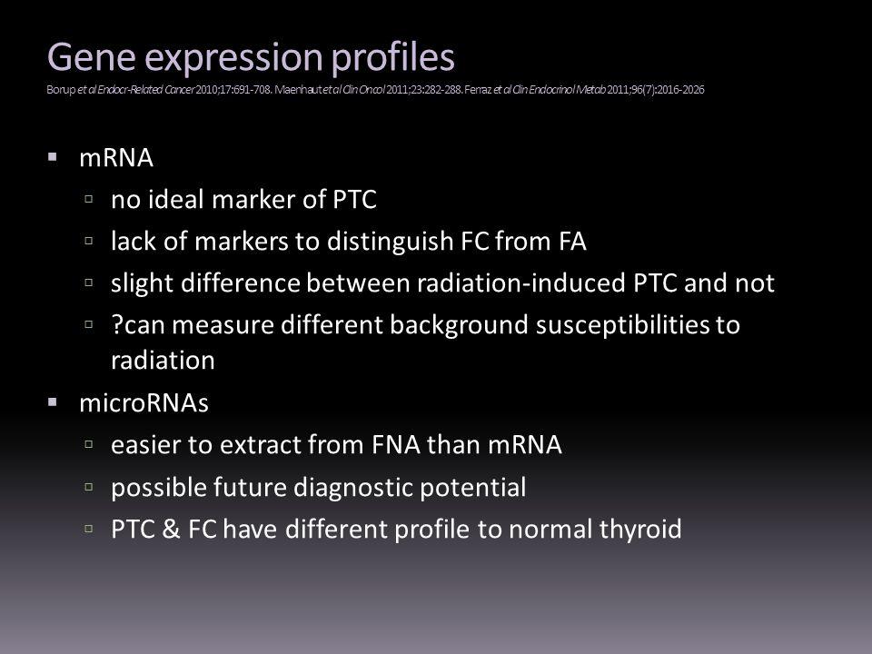 Gene expression profiles Borup et al Endocr-Related Cancer 2010;17:691-708. Maenhaut et al Clin Oncol 2011;23:282-288. Ferraz et al Clin Endocrinol Metab 2011;96(7):2016-2026