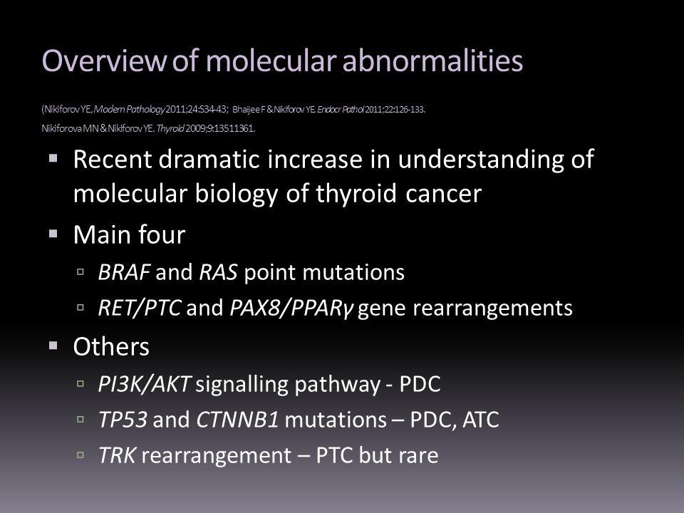 Overview of molecular abnormalities (Nikiforov YE, Modern Pathology 2011;24:S34-43; Bhaijee F & Nikiforov YE. Endocr Pathol 2011;22:126-133. Nikiforova MN & Nikiforov YE. Thyroid 2009;9:13511361.